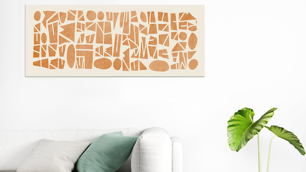 Tall wall art on canvas : burnt orange, wide horizontal