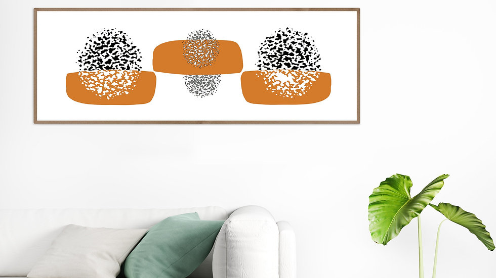 Long narrow wall art giclee PRINT, in black and white; wide narrow wall art