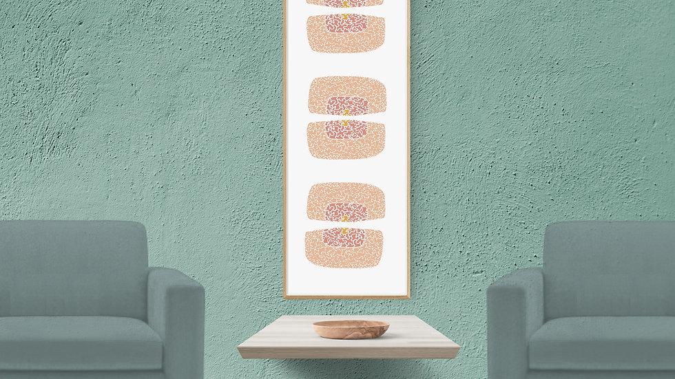 Pink, mustard grey, Long horizontal wall art ; Wide narrow printable
