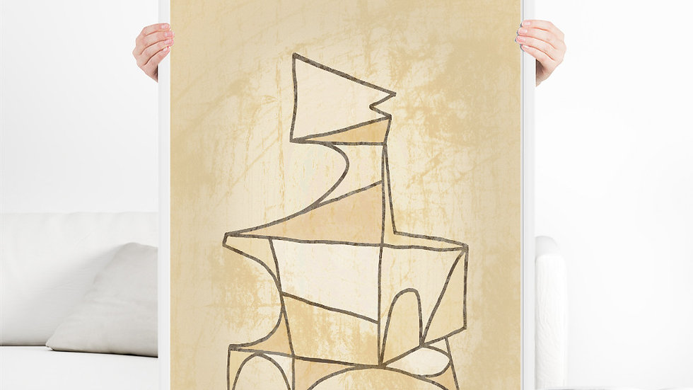 Modern Primitive, abstract art in beige and ochre