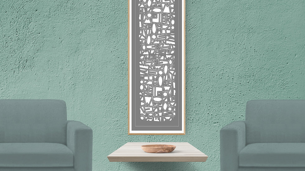 Abstract canvas print: Long, tall, neutral wall art in grey