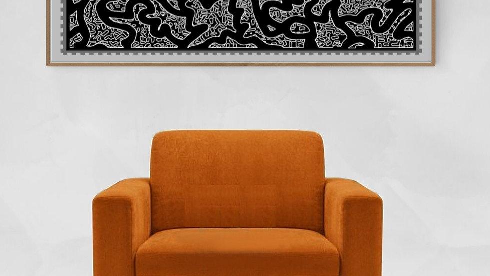 Grey, neutral, Long horizontal wall art ; Wide narrow printable