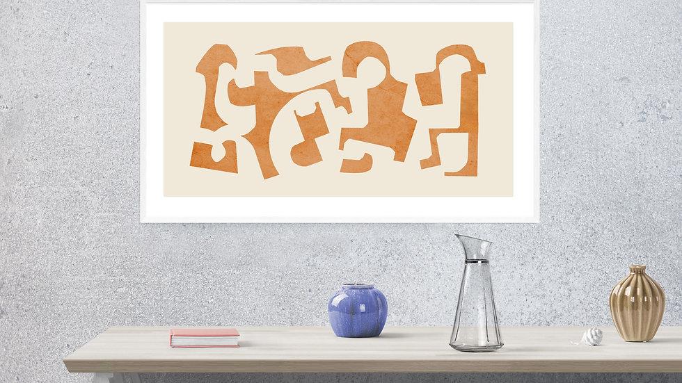 Abstract art, burnt orange shapes art print; printable wall art
