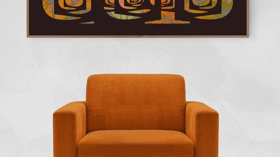 Tall wall art, orange, geometrical horizontal art
