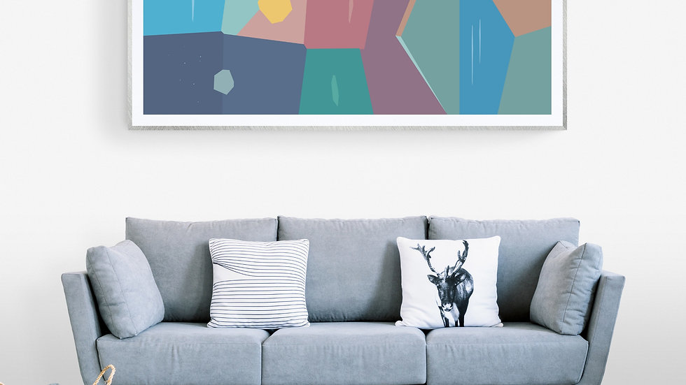 Long, Tall / skinny art abstract in pinks, ochre and blues; printable