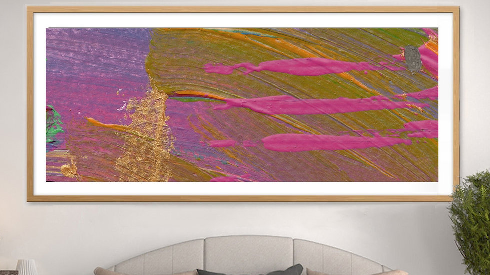 Abstract canvas print: Long, tall, neutral wall art in pink, olive