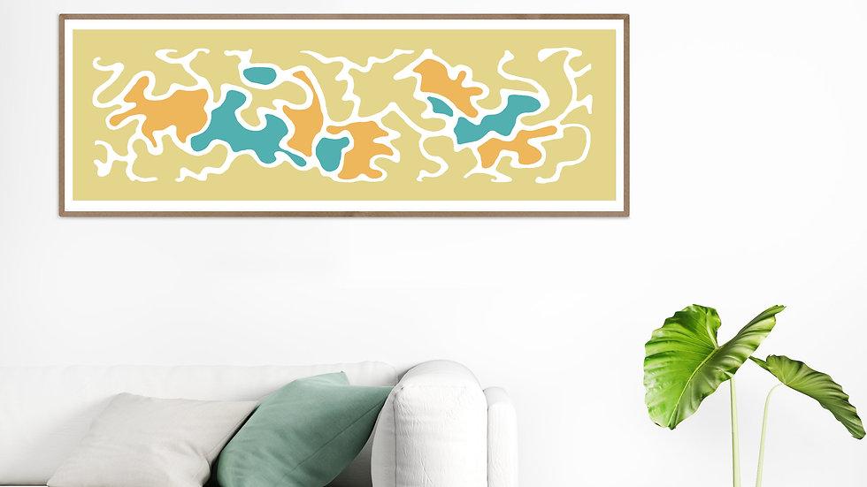 Long horizontal wall art in retro colours; Wide narrow printable wall art