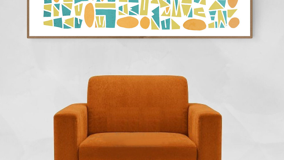 Long horizontal wall art in pastel; Wide narrow printable wall art