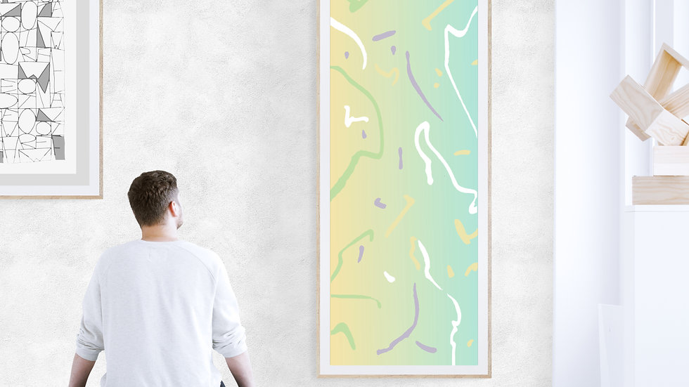 Cheerful, Tall skinny / long narrow wall art in pastels; printable