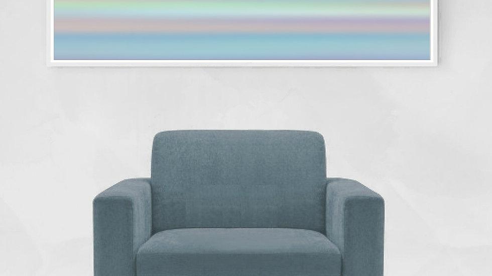Long horizontal line wall art in pastel stripes ; Wide narrow printable
