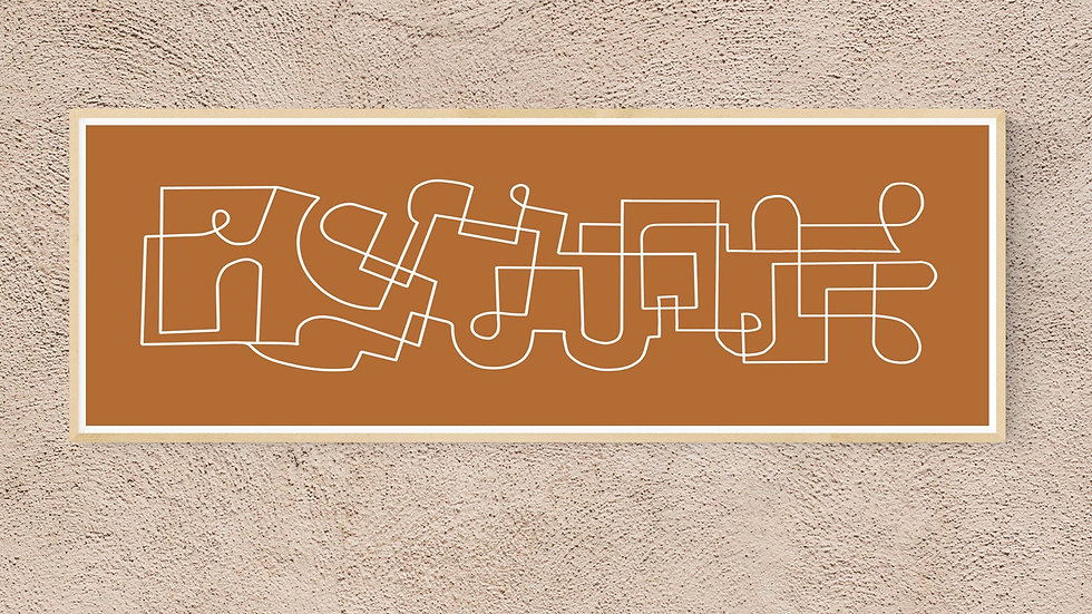 Retro, Wide 36x12 abstract wall art for download. Abstract horizontal