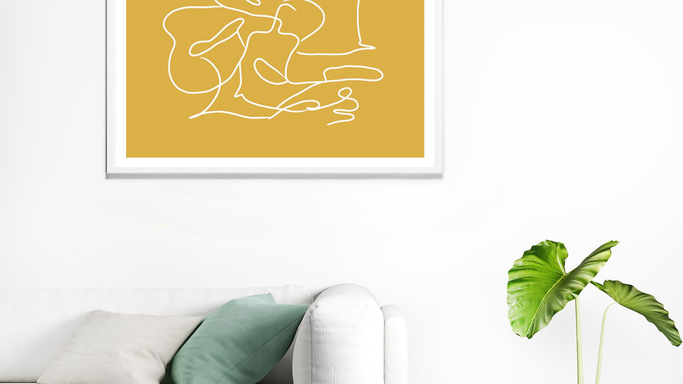 One line / continuous line wall art; Abstract figure in mustard yellow
