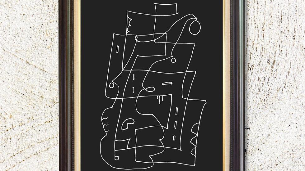 Abstract black white modern printable; horizontal wall art