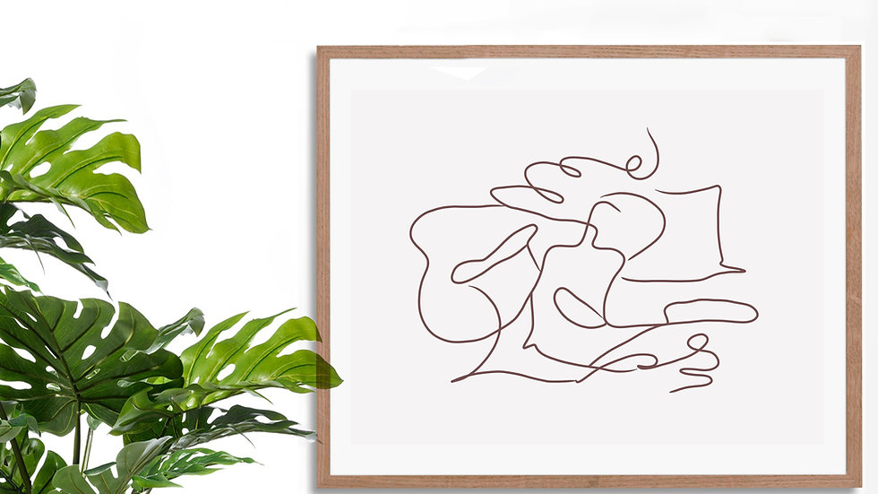 One line / continuous line wall art; Abstract figure up to 18x24 size
