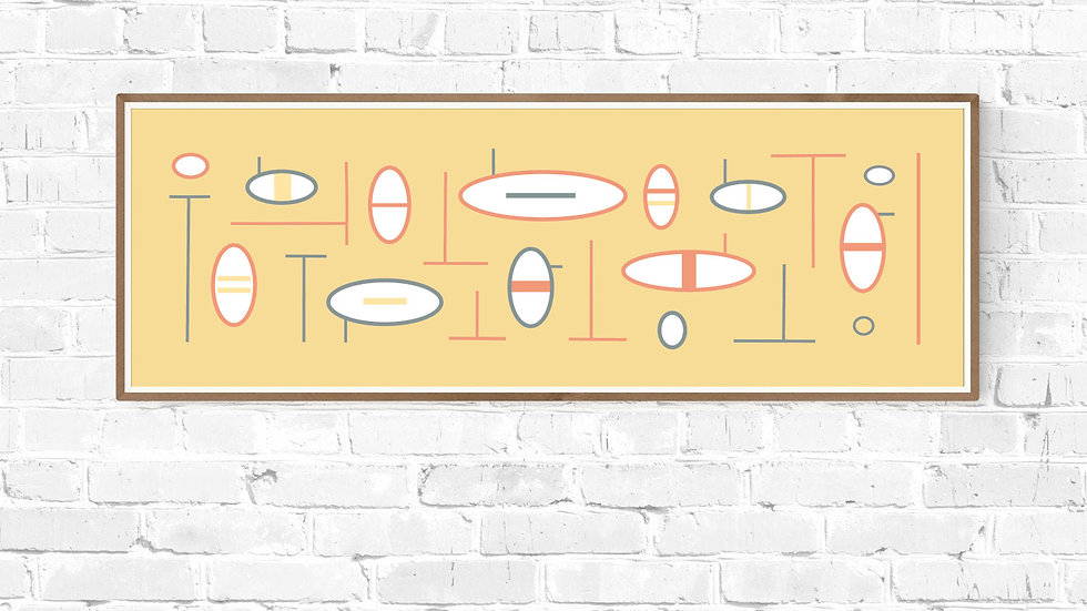 Tall thin yellow abstract wall art ; printable