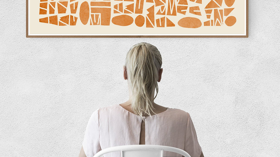 Long horizontal wall art in orange; Wide narrow printable wall art abstract