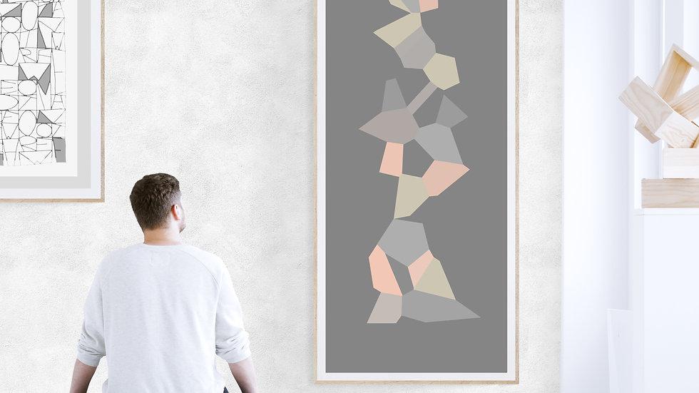 Tall skinny / long art in pink, greys; printable