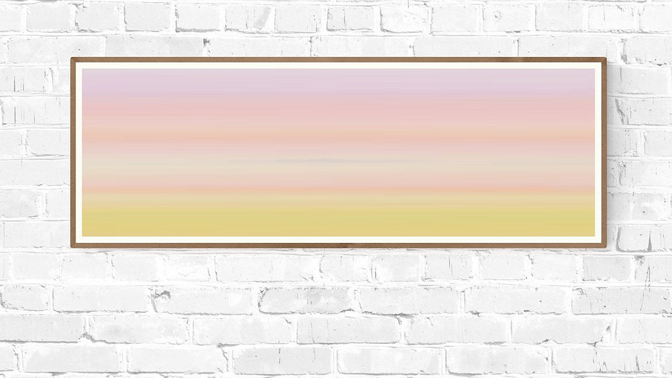 Long horizontal pink landscape wall art in pastel stripes; Wide narrow printable