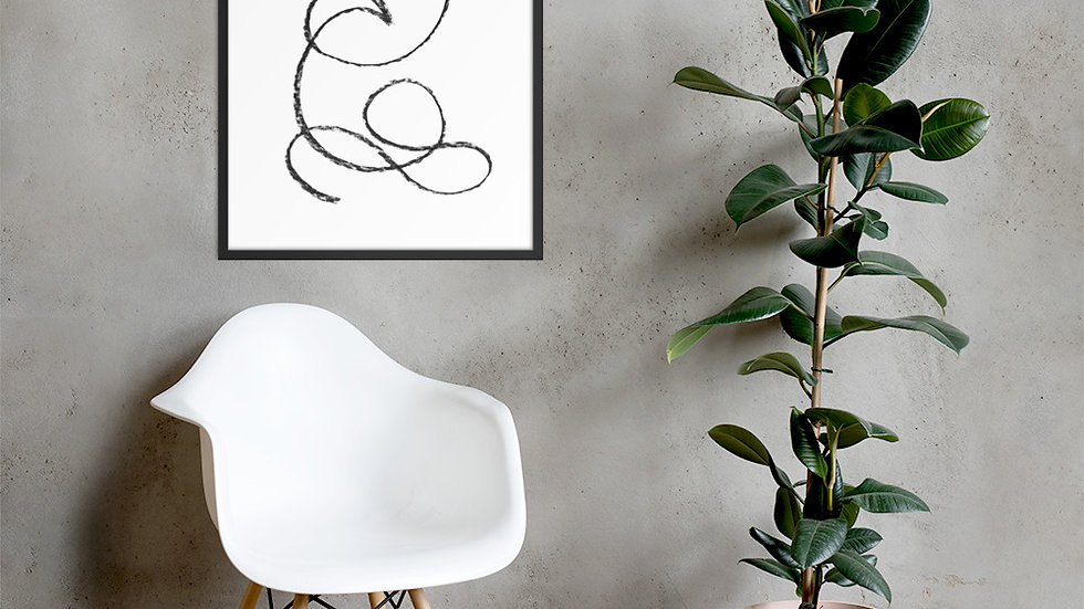 Framed abstract line art, Boho poster