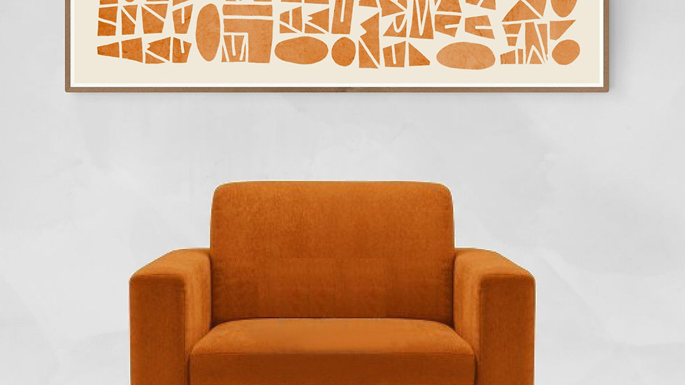 Lively, long horizontal wall art giclee PRINT, in burnt orange; 36x12