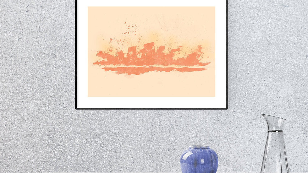 Printable modern art from orange watercolour; horizontal art in popular size