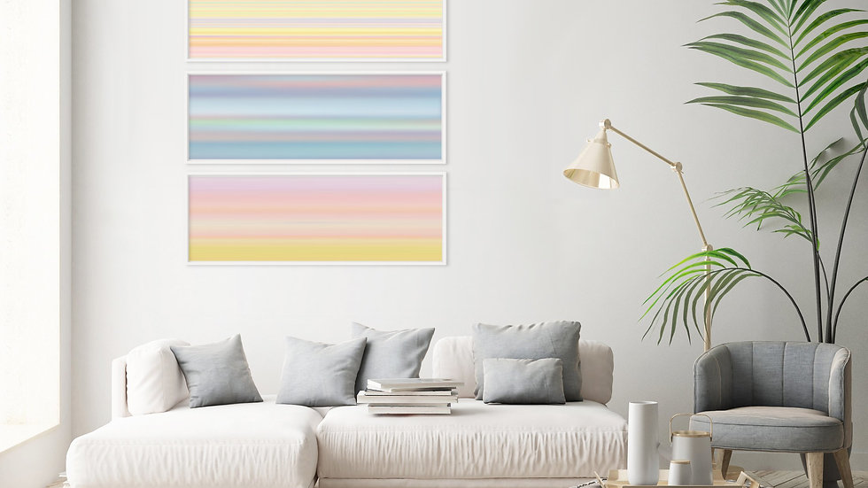 Wall prints set of 3, long narrow horizontal art