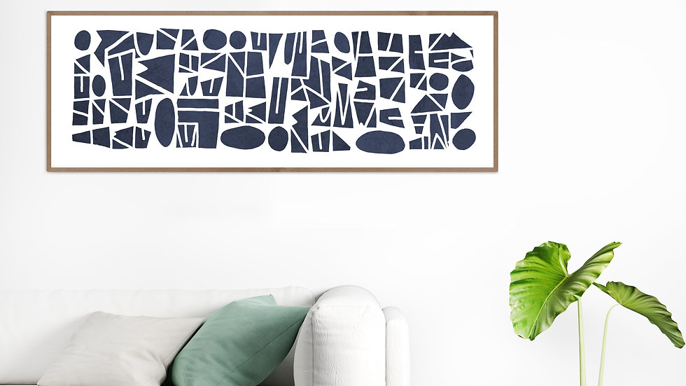 Long, tall, horizontal or vertical wall art giclee PRINT, navy blue, 36x12
