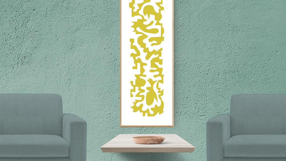 Long narrow / tall thin wall art in mustard; printable, wide abstract