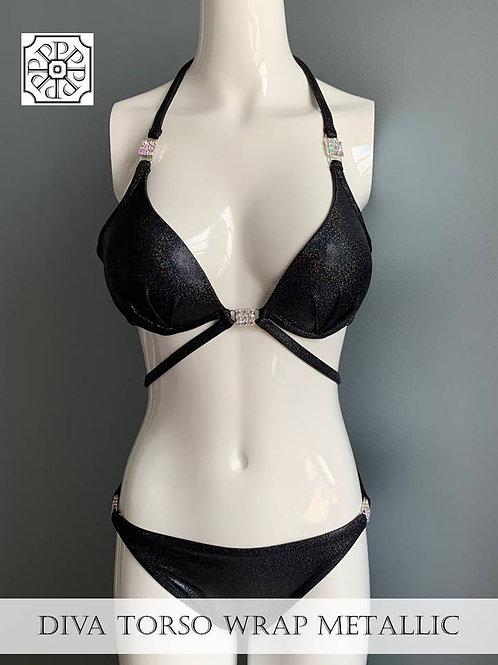 DIVA Metallic Torso Wrap 2 Piece Swimsuit