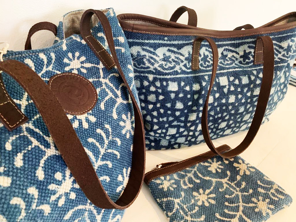 Indigo carpet bags