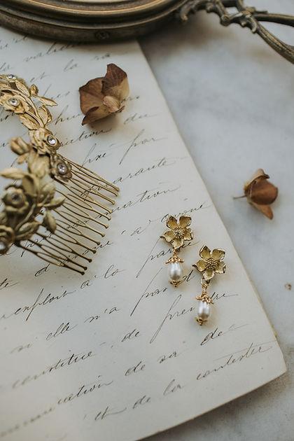 modern + romantic bridal accessories, flower bridal earrings with crystal pearl swarovski