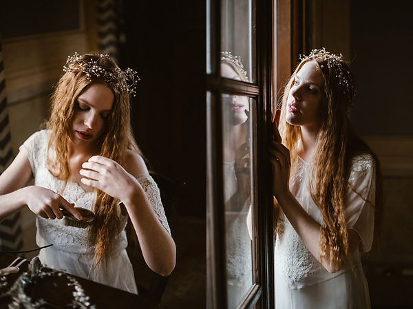 crown bridal headpiece, bridal headpiece with flowers, coroncina sposa con fiori, made in italy, wedding crown made by Guinevere Vines