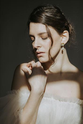 modern + romantic bidal accessories, flower bridal earrings with crystal pearl swarovski
