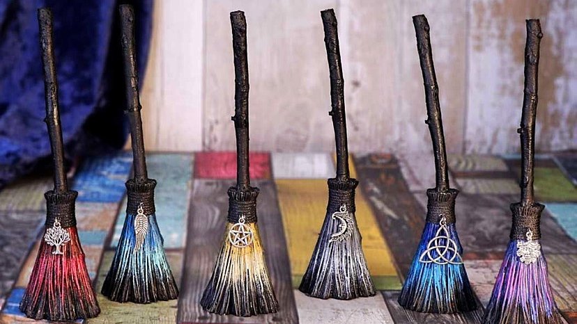 Set of Six Positivity Broomsticks with Tibetan Silver Charms