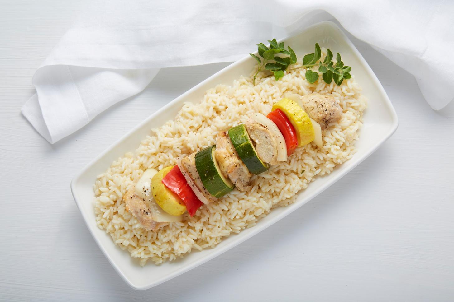 Skewerless chicken kabob over rice