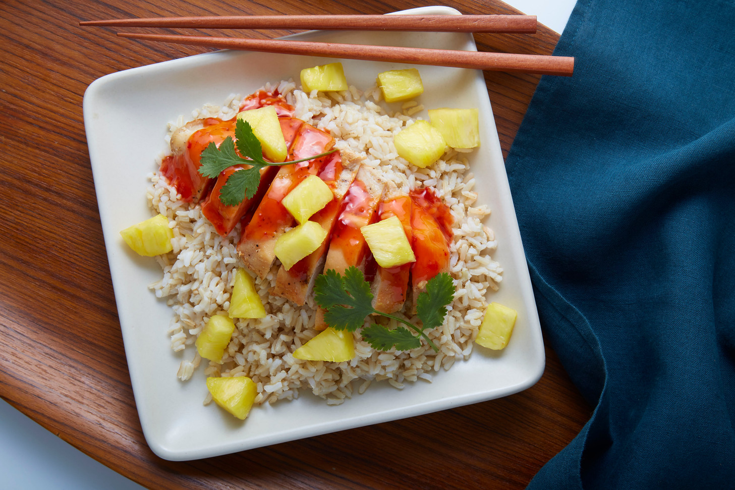 Sweet & sour chicken over rice