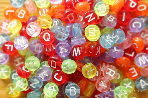 7 mm Rainbow Letter Beads
