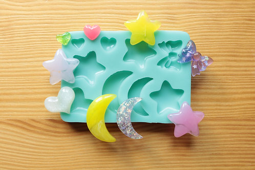 Moons, Stars, Hearts, Bow Silicone Mold