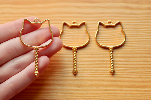 Cat Wand Open Bezel Charm (for UV Resin)