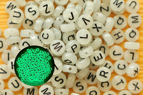 7 mm Glow-In-The-Dark Letter Beads
