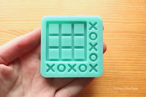 Tiny Tic-Tac-Toe (Backed Shaker) Silicone Mold
