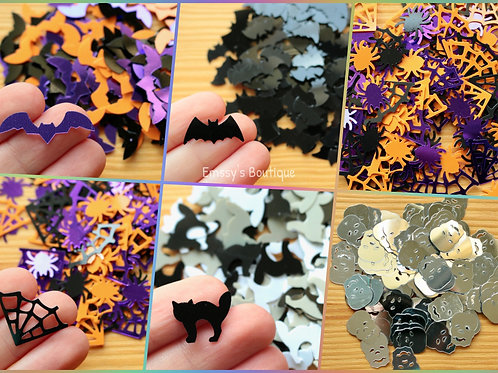 Spooky Halloween Shaped Confetti - Bats, Webs, Cats, Skulls