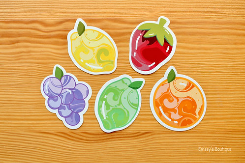 Juicy Fruits Kawaii Vinyl Stickers Bundle (Waterproof, Weatherproof)