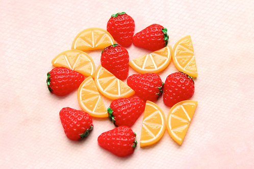 Strawberry/Orange Fruits Cabochons