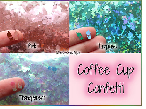 10g Heart Coffee Cup Confetti! Pink, Turquoise, Transparent