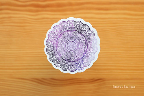 Purple Mandala Vinyl Sticker (Waterproof, Weatherproof)