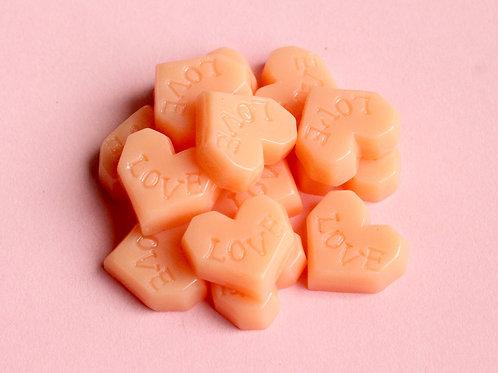"""""""Love"""" Heart Cabochons (Peach)"""