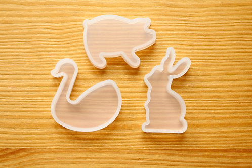 Farm Pig, Duck, Rabbit Clear Silicone Mold