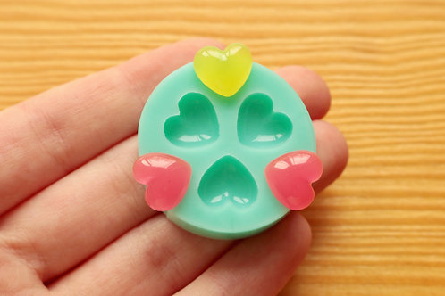 11mm Puffy Hearts Silicone Mold (Green)