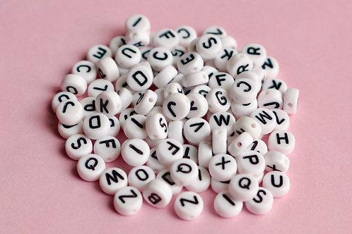 7 mm Alphabet Letter Beads (White)